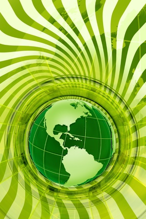 Green Global Design. Perfect Illustration for Global Go Green Movement. Vertical Green Design with Globe Model and Spiral Rays Background.