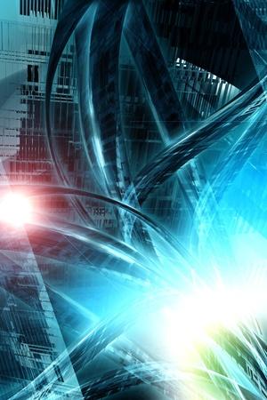 Digital City - Résumé Salut-Tech Concept avec des câbles de données volumineux et des fusées éclairantes. Grande concernant l'accueil de l'oeuvre ou de fond entreprises de logistique. Conception verticale. Banque d'images - 10642922