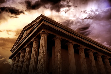 Ancient Temple - Ancient Architecture 3D Rendered Abstract Illustration. Hundred Columns Temple. Architecture Illustrations Collection.