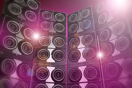 loud: Pinky and Flashy Disco Party Background - 3D Rendered Speakers Wall Disco Party Background Illustration. Stock Photo