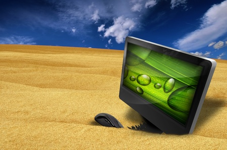 Extreme Drought - Desktop Computer and Mouse in the Sand. Somewhere on Desert. Creative Ecology-Nature-Technology Illustration. Fresh Green Theme on the Screen. illustration