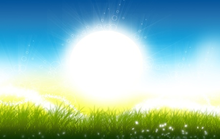 日の出。日当たりの良い春の草原のイラスト。美しく、ポジティブな性質の図。 写真素材