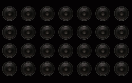 loud speaker: Subwoofers Wall. Black wall with Black Bass Speakers. Stock Photo