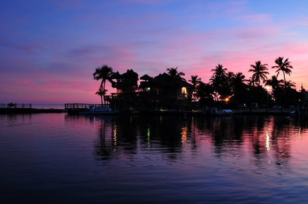Islamorada Florida. Florida Keys Sunset with Ocean Front and Palm Trees. Islamorada USA