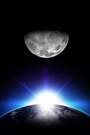 日の出とムーン - 垂直方向のスペースの図。昇る太陽、地球と月。シンプルでクールなイラスト。あなたのロゴの準備ができて ! 写真素材