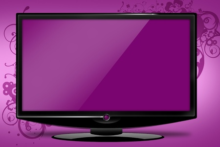 Pinky HD TV Illustration with Floral Elements. Just Place Your Logo or Event Screen!