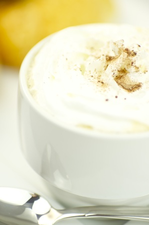 Whipped Cream Coffee. White Elegant Coffe Cup. Cafe Table Stock fotó