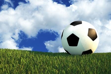 grassy: Football Field - Foot Ball on the Grassy Field. Cloudy Blue Sky. 3D Render Illustration.