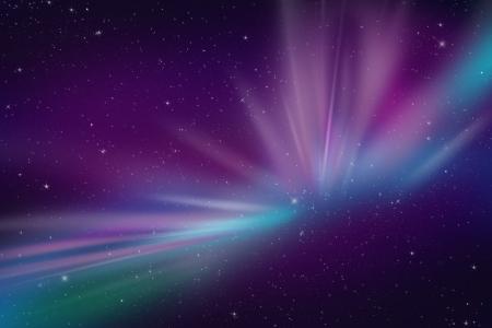 오로라: 오로라 폴라 조명 추상적 인 공간 이벤트 그림입니다. 작품의 모든 종류의 배경으로 멋진. 다크 바이올렛 블루 색상. 밤 하늘에 많은 별.