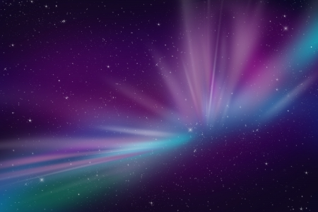 galactic: Aurora Polar Lights Abstract Space Event Illustration. Cool As Background for Any Kind of Artwork. Dark Violet and Blue Colors. Night Sky with Many Stars. Stock Photo