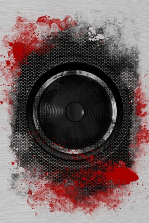 loud: Hardcore Rock Bass Speaker. Cool Grunge Black Bass Speaker with Damaged Metal Sheets and Red Paint. Cool Background for Your Music Event Posters, Flyers and more! Stock Photo