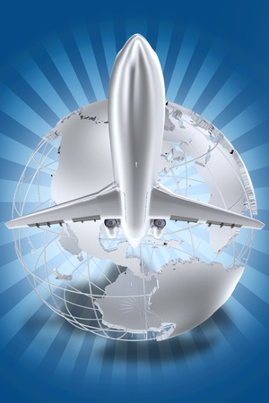 logistics world: Airlines Theme. SShiny Silver Globe with Flying Airplane LogoSymbol. Blue Background with Light Rays. 3D Render Illustration. Stock Photo