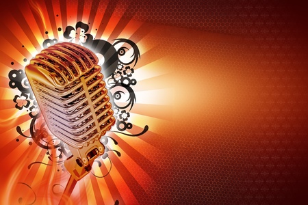 Karaoke Background Design. Cool Retro Style Microphone with Floral Rays and Lights Background. Horizontal Karaoke Theme. Ready to Use Copy Space. photo