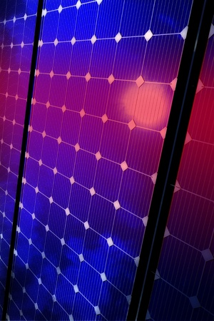 voltaic: Solar Panels Equipment Background. Vertical 3D Rendered Alternative Energy - Solar Panels Theme.