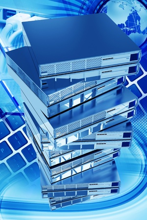 Global Networking Vertical 3D Rendered Illustration. Sixteen Silver Metallic Server Machines Tower. Top View. Cool Global Networking Backround with Keyboards, Globe and Some USB Laptop Connections. Cool Blue Color illustration