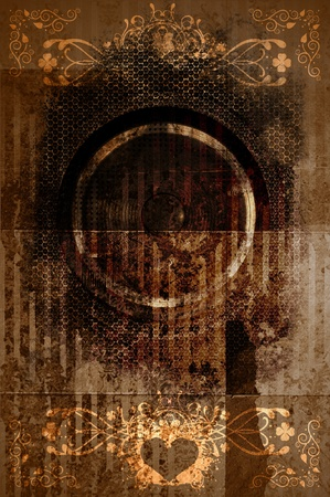 dusty: Cool Retro Grunge Background. Dirt, Dust, Rough. Many Floral Vintage Elements, Metal Sheet, Stains, Splashes. Vintage Vertical Background for Your Event Artwork.