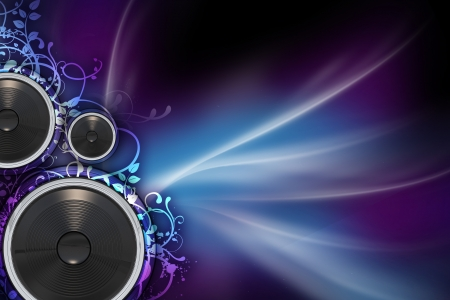 speakers: Mysterious Music - Music Background with Colorful Violet and Blue Rays, Floral Ornaments and Bass Speakers. Great Copy Space.
