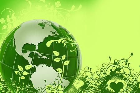 madre tierra: Verde de Eco de globo. Ilustraci�n de energ�a verde global con modelo de tierraglobo verde y adornos florales. Fondo verde.