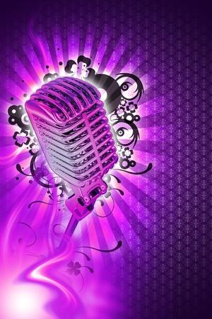 showman: Pinky Karaoke dise�o. Tema de m�sica de Karaoke. Cool fondo violeta Pinky con rayos de luz, llamas y adornos florales y fresco estilo Retro plata micr�fono. Dise�o vertical. Foto de archivo