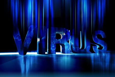 fading: 글로벌 바이러스 - 시원한 블루 어두운 글로벌 바이러스 테마 그림. 모션 블러 빛을내는 조명 페이딩 편지를 냉각. 수평 디자인. 스톡 사진