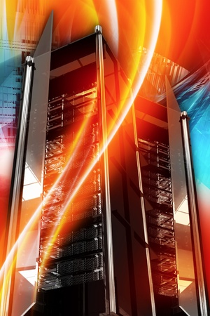datacenter: Hottest Server Deals. Hosting and Networking Theme. Cool Colorful Vertical Hosting Theme with Server Racks and Burning Orange-Red Wavy Ornaments. Hot Servers 3D Rendered Illustration.