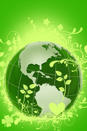 the americas: Green Floral Globe - Ecology Theme. Cool Green 3D Rendered Globe (West Side - North and South America) with Floral Ornaments Around. Green Glowing Background. Vertical Design. Stock Photo
