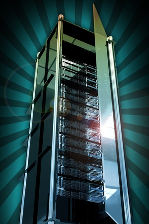 virtualization: Servers Tower with Open Glass Door. Cool Glassy-Metal Server Rack Tower. Rays Background. Cool Hosting and Networking Related Illustration Stock Photo