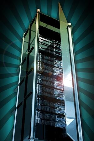 virtualizacion: Servidores de torre con puerta de vidrio abierto. Cool vidriosos Metal servidor Rack torre. Fondo de rayos. Cool Hosting y redes relacionadas con la ilustraci�n