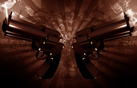 Grunge Revolvers - Gangsta Theme. Grunge Dark Brown Background with Dirty Rays and Two Smoking Gangsta Revolvers. Cool Outlaw Theme. Horizontal 3D Render Illustration.