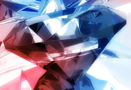 refractions: Diamonds Background. Blue-Red Diamond Reflections 3D Background. 3D Rendered Diamonds illustration.