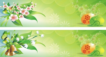 Green Spring Easter Banners with Eggs and Floral Elements. Two Easter Banners to Choose From. Stock Photo