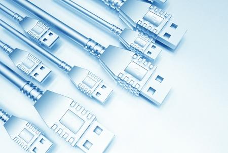 USB Light Blue Achtergrond Illustratie. Technologie Achtergrond. Stockfoto