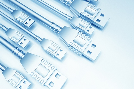 USB Light Blue Background Illustration. Technology Background. Stock Illustration - 10642956