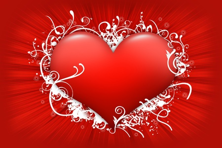 shiny hearts: Red Floral Heart. Cool Valentines Day Illustration  Design. Large Red Glossy Heart with White Floral Ornaments and Light Red Rays.