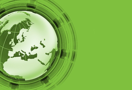 world news: Green Global News - Background with Green Globe and Solid Green Background. Right Side Copy Space. Globe - EuropeanAfricanAsia Part.