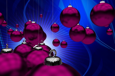 pinky: Holiday Theme. Purple Christmas Ornaments on Cool Abstract Blue Background. Great Holiday Background for Your Business Christmas Postcards! 3D Rendered Illustration Stock Photo