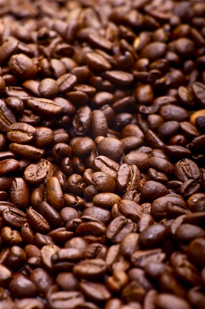 Brown Coffee Beans Background. Aromatic Coffee Beans photo