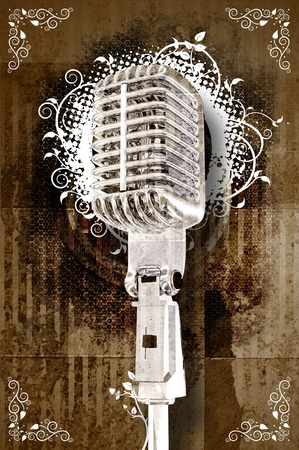 Retro Karaoke Music Event Theme. Cool Sepia Grunge Background with White Floral Ornaments and Cool Retro Microphone. Karaoke Background Design. Copy Ready Stock Photo - 10642333