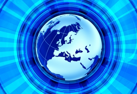 world news: Euro News Background. European Continent - Globe Model and Blue Shiny Rays Background. Great for RadioTV Broadcast Related Artwork.