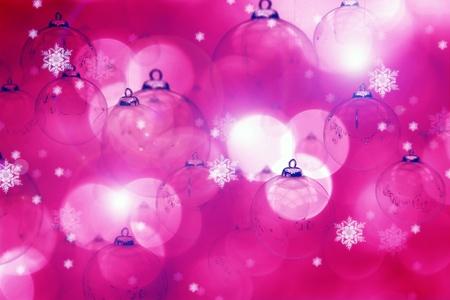 pinky: Pink Christmas. Pinky Beautiful Seasonal - Christmas Theme. Great Bokeh and Christmas Ornaments Holidays Background.  Stock Photo