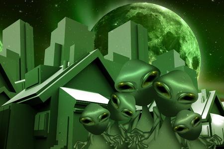 ufology: Alieni e Theme Immobiliare Spazio Reale divertente. Green World and Aliens verde sulla strada tra case e grattacieli. Grande Luna Verde sul cielo.