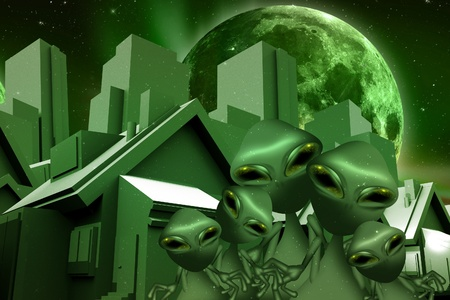 ufology: Aliens and Space Real Estate Funny Theme. Green World and Green Aliens on the Street Between Homes and Skyscrapers. Large Green Moon on the Sky. Stock Photo