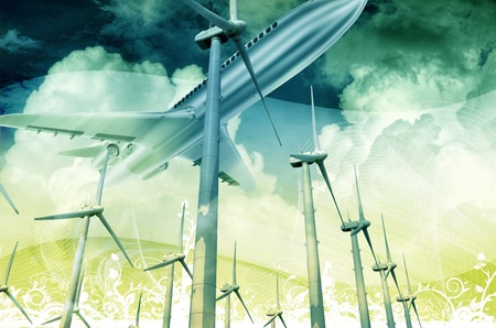 Technology of the Future. Air Transportation and Alternative Energy Technologies. 3D Render Illustration with Floral Ornaments.  illustration