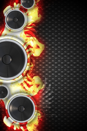 Hot Music Event Design. Cool Three Bass Speakers with Flames Music Theme. Floral Pattern Dark Background. Great Right Side Copy Space.