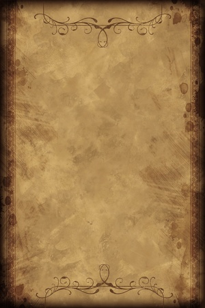 old fashioned: Old Vintage Background - Vertical Design. Old-Fashioned Browny Paper Background with Decorative Floral Elements on Top and Bottom. Stock Photo