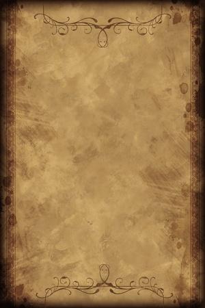 vieux: Vieux fond de cru - Conception verticale. Old-Fashioned Background Paper Browny avec �l�ments d�coratifs floraux sur Haut et Bas.