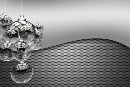 Techno Kerstthema. Glas en metaal Cool Christmas Theme. Glas Transparante Vakantie Ornamenten en Metallic achtergronden. Perfecte Achtergrond (Kopie Ruimte) voor industriële bedrijven, enz. Feestdagen Illustraties Collection.