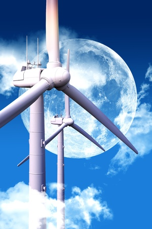 overnight: Wind Energy at Night. Cool Night Sky with Huge Moon and Two Modern Wind Turbines Between Clouds. Stock Photo