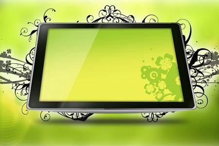 3g: Floral Tablet. Cool Yellow-Kiwi Colors Tablet Computer with Vector Floral Elements - Floral Ornaments.. Technology and Art.