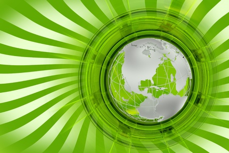 Global News Green Background. Twisted White Rays, Green Background and Silver-Metallic Globe Model. photo